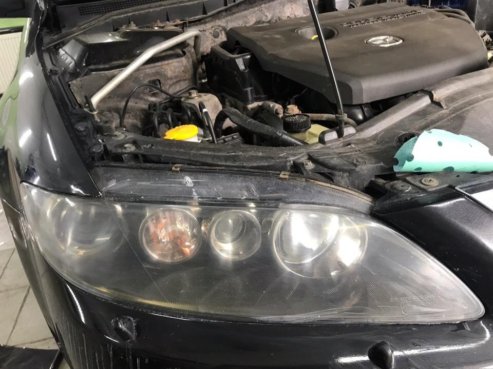 Полировка фар Mazda 6 - фото состояния ДО
