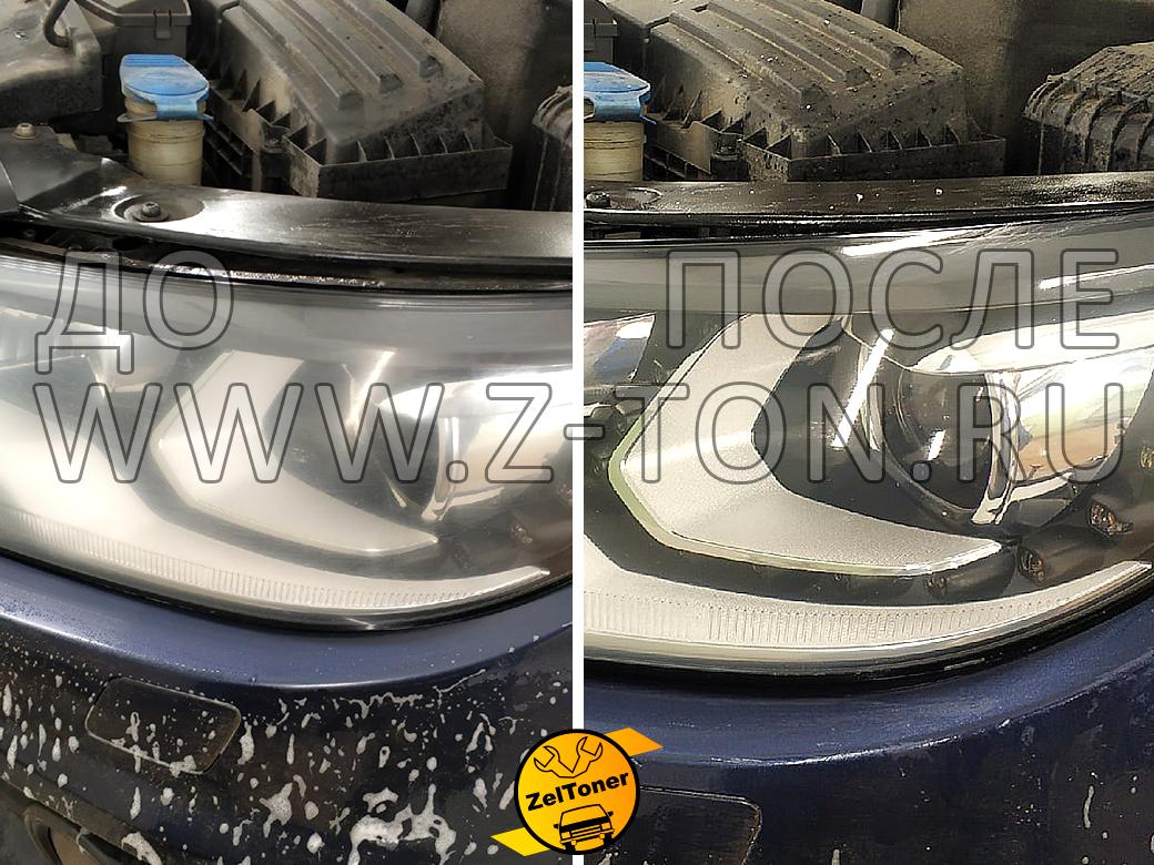 Полирование и бронирование оптики Фольксваген Тигуан, на фото процедуры: до и после